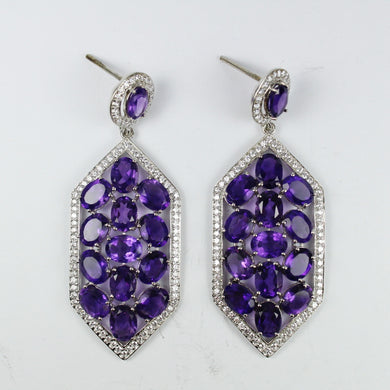 Sterling Silver Amethyst and Cubic Zirconia Long Stud Drop Earrings