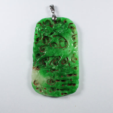 Antique Grade B Carved Chinese Underground Jade Dragon Pendant With Sterling Silver Link
