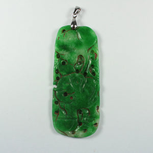 Antique Grade B Carved Chinese Underground Jade Elephant Pendant With Sterling Silver Link