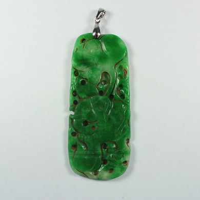 Antique Grade B Carved Chinese Underground Jade Pig Pendant With Sterling Silver Link