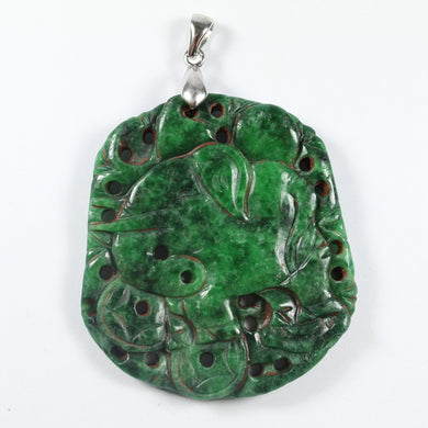 Antique Grade B Carved Chinese Underground Jade Elepant Pendant With Sterling Silver Link