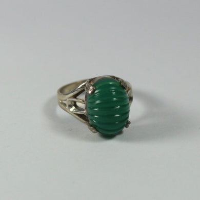 Vintage Sterling Silver Carved Green Onyx Ring