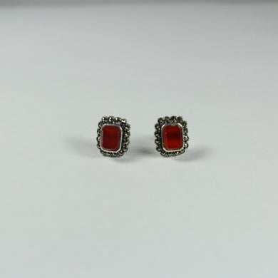 Sterling Silver Marcasite and Carnelian Stud Earrings