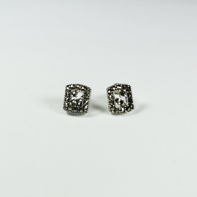 Sterling Silver Marcasite Art Deco Style Stud Earrings