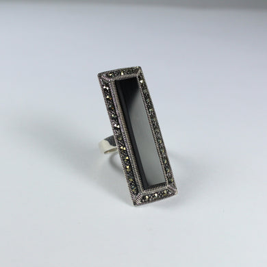 Sterling Silver Black Onyx and Marcasite Cocktail Ring