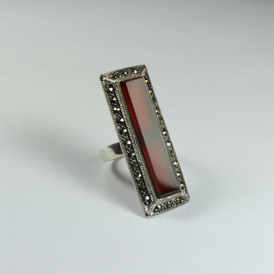 Sterling Silver Marcasite and Carnelian Cocktail Ring