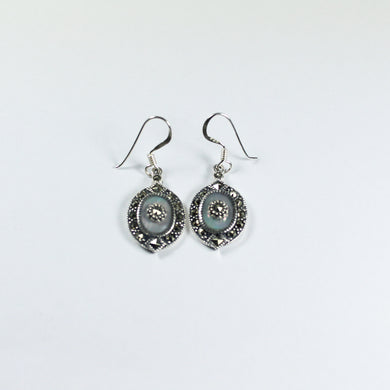 Sterling Silver Mother of Pearl and Marcasite Drop Earrings