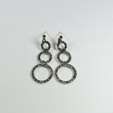 Modernist Style Sterling Silver Marcasite Stud Drop Earrings