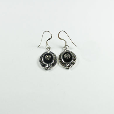 Sterling Silver Marcasite and Black Onyx Drop Earrings