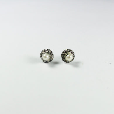 Sterling Silver Marcasite and Fresh Water Pearls Stud Earrings