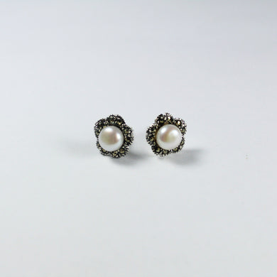 Sterling Silver Marcasite and Fresh Water Pearl Floral Stud Earrings