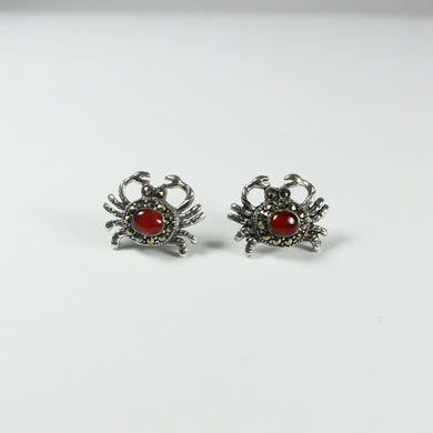 Sterling Silver Marcasite and Carnelian Crab Stud Earrings