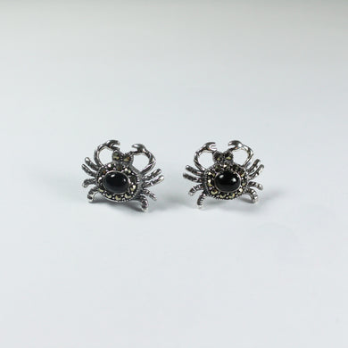 Sterling Silver Black Onyx and Marcasite Crab Stud Earrings