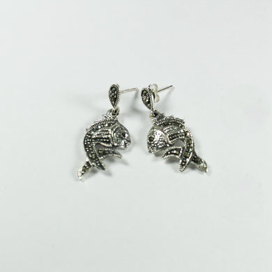 Sterling Silver Marcasite Fish Stud Drop Earrings