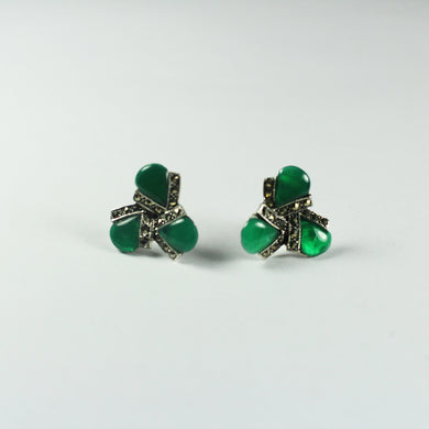 Sterling Silver Art Deco Style Green Onyx and Marcasite Stud Earrings