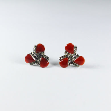 Sterling Silver Carnelian and Marcasite Stud Earrings