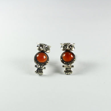 Sterling Silver Carnelian and Marcasite Owl Stud Earrings