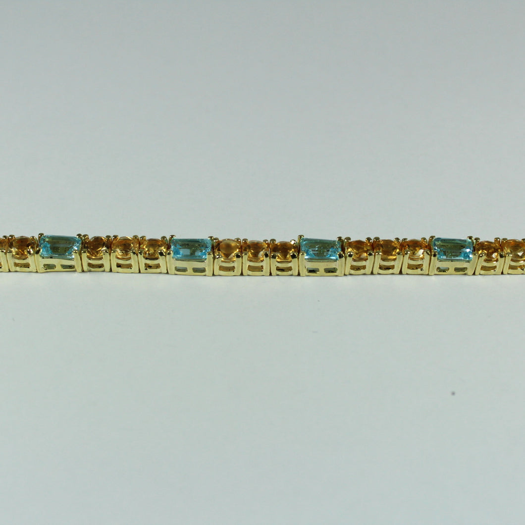 Sterling Silver Gold Plate Citrine and Topaz Bracelet