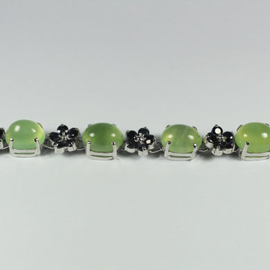 Sterling Silver Natural Sapphires and Cabochon Cut Prenite Bracelet