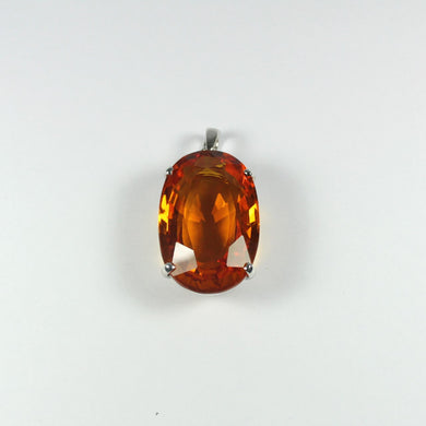 Sterling Silver Oval Cut Citrine Pendant