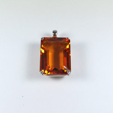 Sterling Silver Emerald Cut 30ct Citrine Pendant
