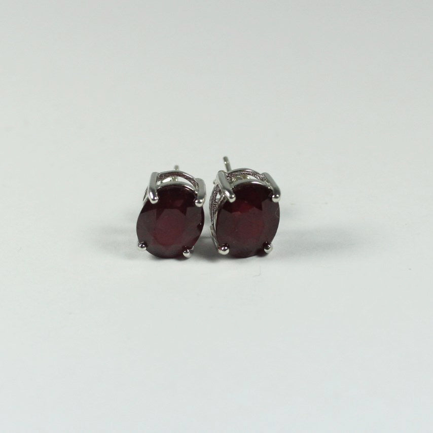 Sterling Silver Natural Ruby Stud Earrings