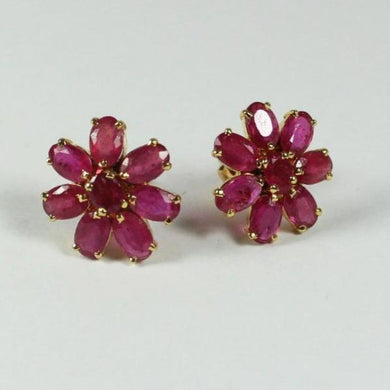 18ct Yellow Gold Floral Cluster Ruby Stud Earrings