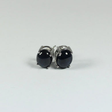 Sterling Silver Natural Star Sapphire Stud Earrings