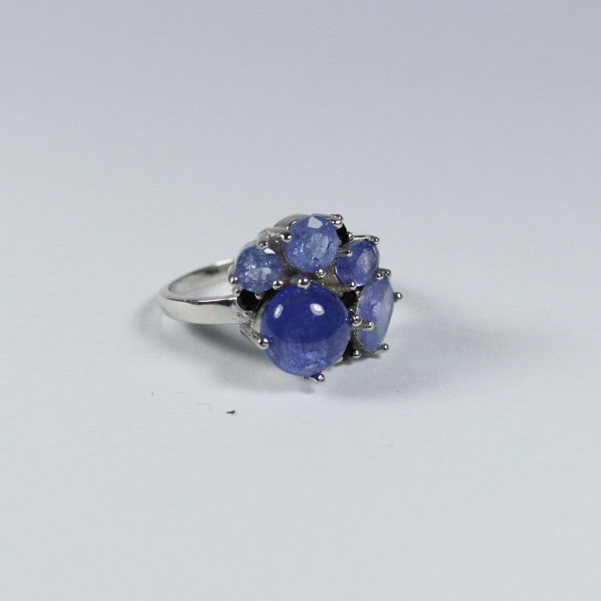 Sterling Silver Cabochon and Facated Tanzanites and Black Spinel Ring
