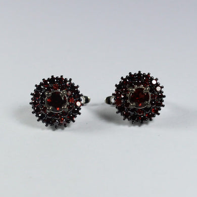 Sterling Silver Cluster Set Earrings with Natural Garnets
