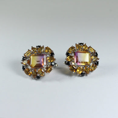 Sterling Silver Gold Plate Ametrine, Citrine and Black Spinel Earrings