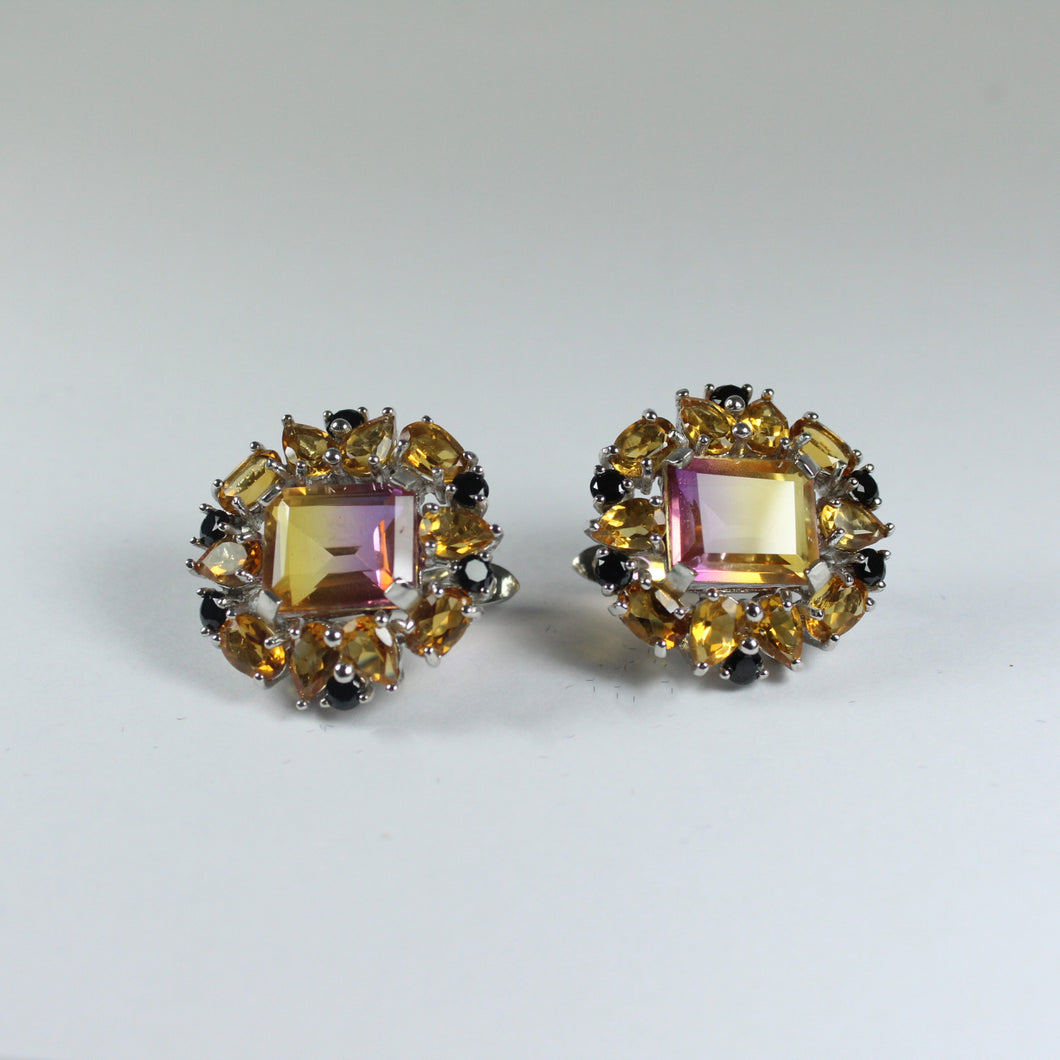 Sterling Silver Ametrine, Citrine and Black Spinel Earrings
