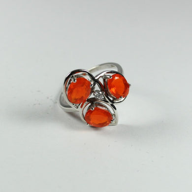 Sterling Silver Mexican Fire Opal Dress Ring