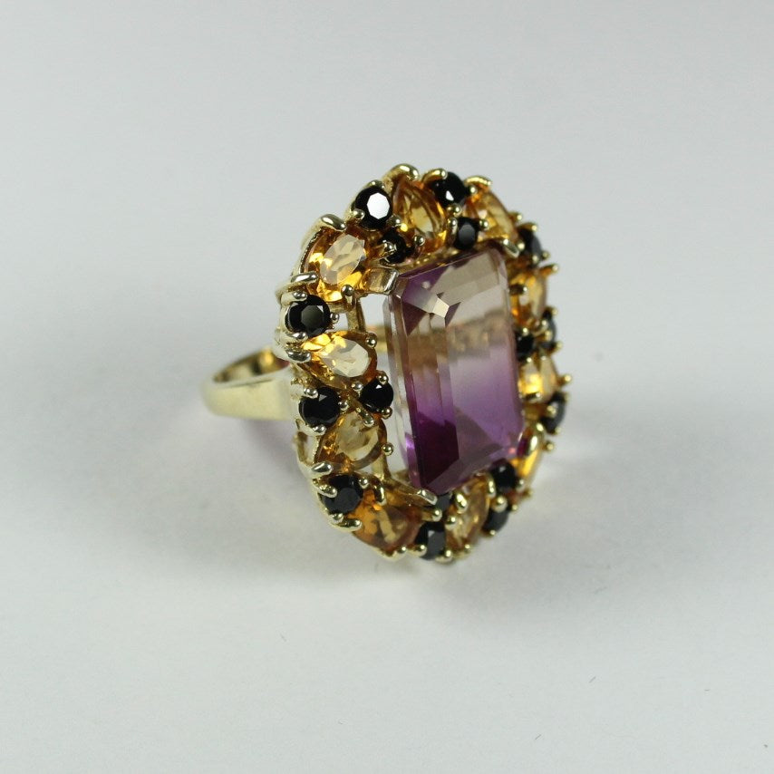 Sterling Silver Gold Plate Ametrine, Citrine and Black Spinel Cocktail Ring