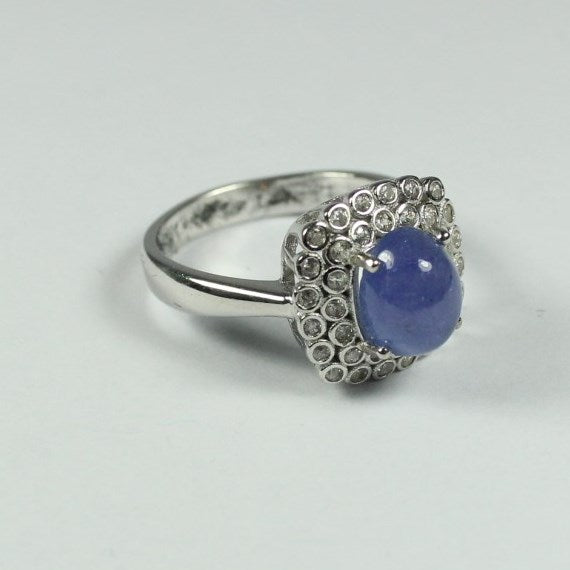 Sterling Silver Cabochon Tanzanite and Cubic Zirconia Ring