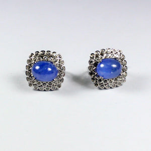Sterling Silver Cabochon Tanzanite and Cubic Zirconia Earrings