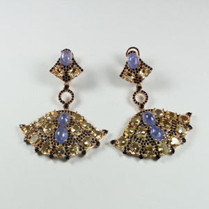 Sterling Silver Rose Gold Plate Cabochon Tanzanites, Black Spinel and Citrine Fan Earrings
