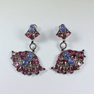 Sterling Silver Cabochon Tanzanites, Black Spinel and Pink Tourmaline Fan Earrings