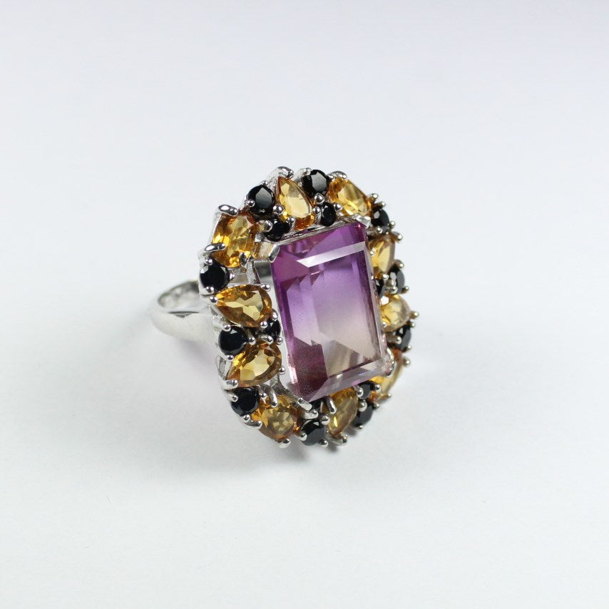 Sterling Silver Ametrine, Citrine and Black Spinel Cocktail Ring
