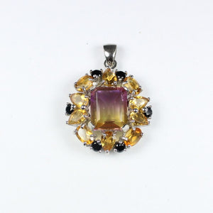 Sterling Silver Ametrine, Citrine and Black Spinel Pendant