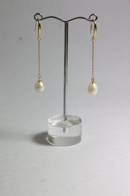 Sterling Silver Gold Plate 8mm Freshwater Pearl Chain Drop Earrings