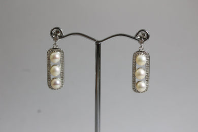 Sterling Silver 4mm Freshwater Pearl and Cubic Zironia Rectangular Stud Drop Earrings