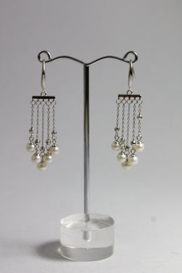 Sterling Silver 4.5mm Freshwater Pearl Tassel Drop Earrings