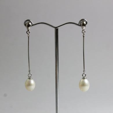 Sterling Silver 8mm Freshwater Pearl Stud Drop Earrings