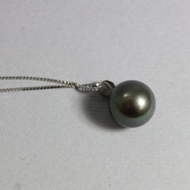 18ct White Gold 10mm Black Tahitian Pearl Pendant