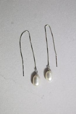 Sterling Silver 8mm Oval Freshwater Pearl Chain Drop Earrings