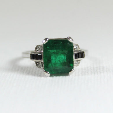 9ct White Gold 1.7ct Emerald, Sapphire and Diamond Dress Ring
