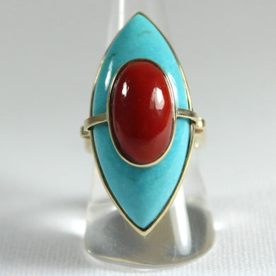 9ct Yellow Gold Momo Coral and Turquoise Marquise Cocktail Ring