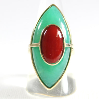 9ct Yellow Gold Momo Coral and Chrysoprase Marquise Cocktail Ring