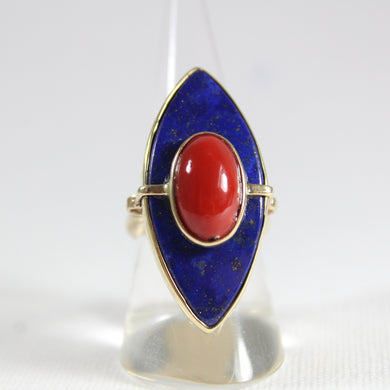 9ct Yellow Gold Momo Coral and Lapis Lazuli Marquise Cocktail Ring